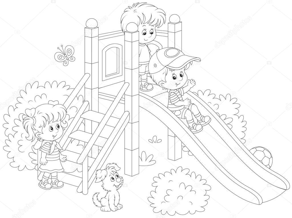Imágenes Niños Jugando En Parques Para Colorear Diapositiva De