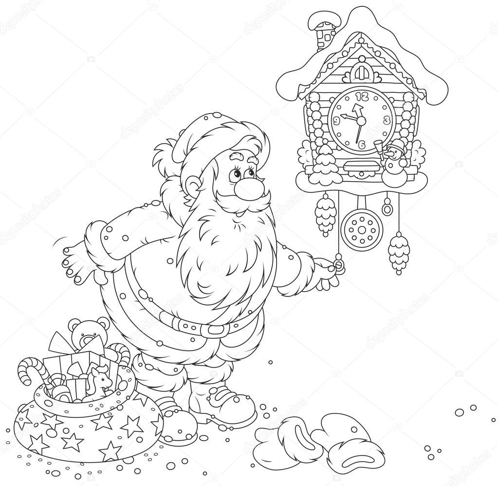Santa Liquidación Su Reloj De Cuco Vector De Stock Alexbannykh