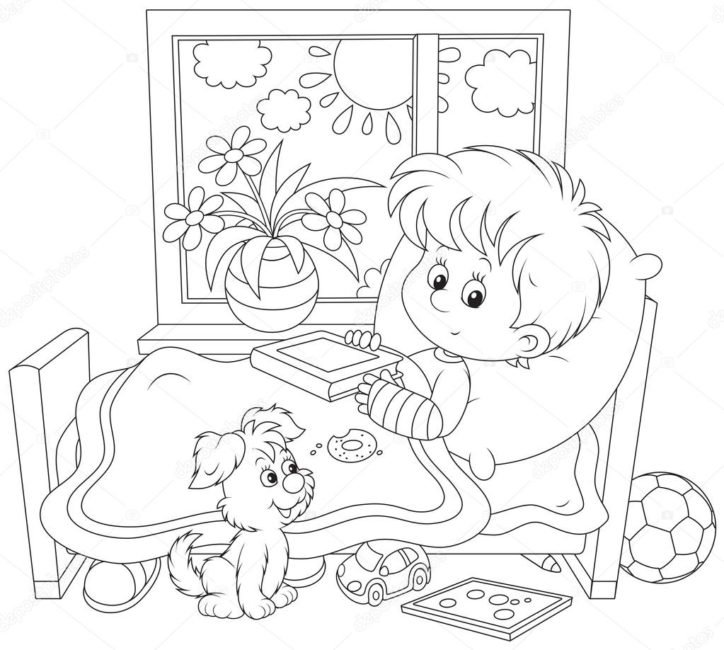 Imágenes Niños Enfermos Para Colorear Niño Enfermo Con Una