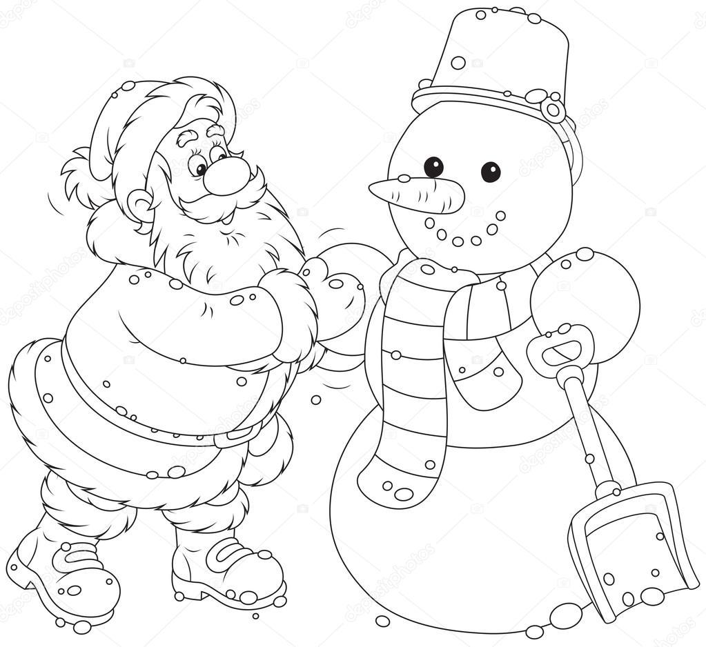 Papá Noel y muñeco de nieve — Archivo Imágenes Vectoriales ...