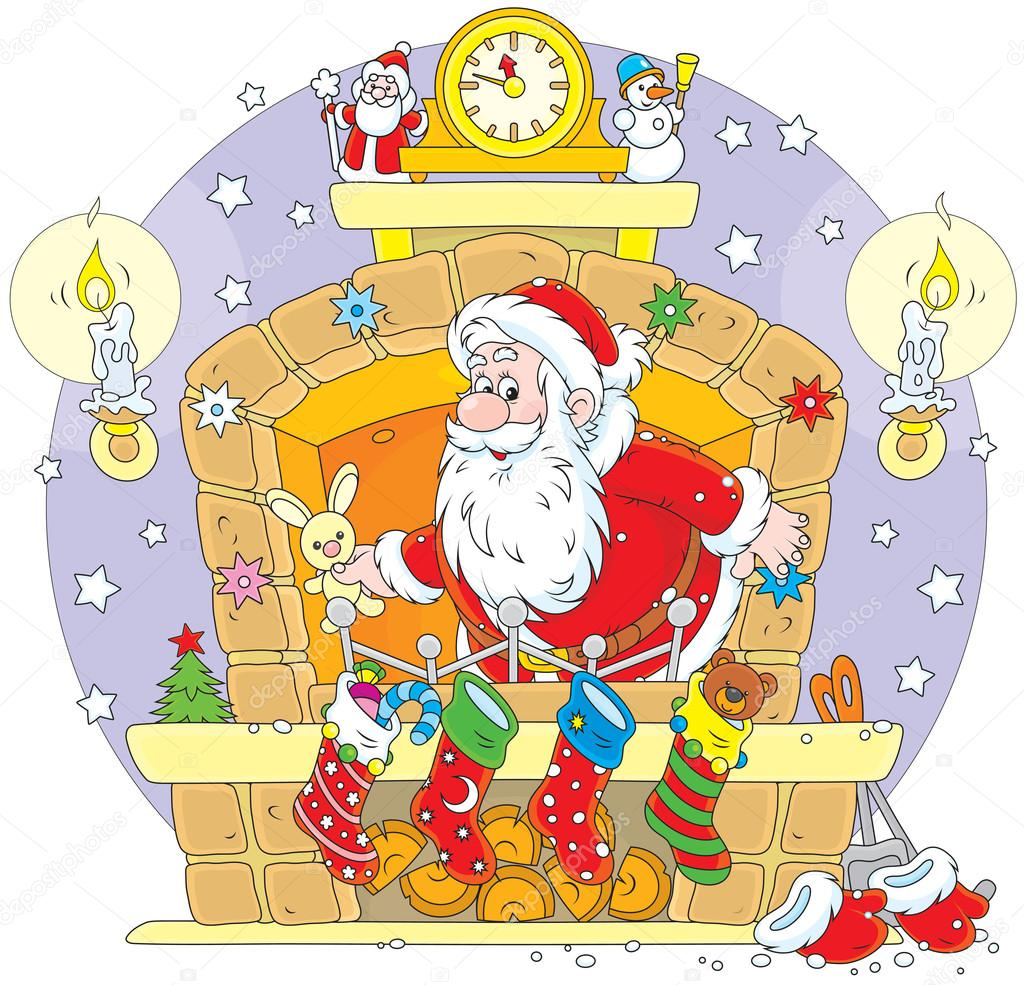 Santa in the fireplace
