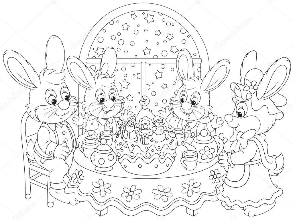 Imágenes Familia Cenando Para Colorear Cena De Navidad Vector