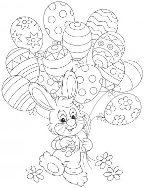 Easter Bunny with balloons