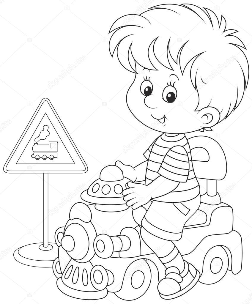 Chico en un tren de juguete — Archivo Imágenes Vectoriales ...