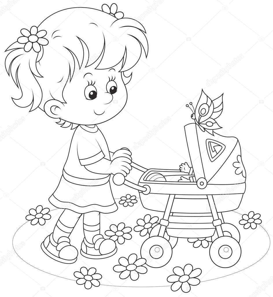 meisje met een speelgoed baby buggy stockvector