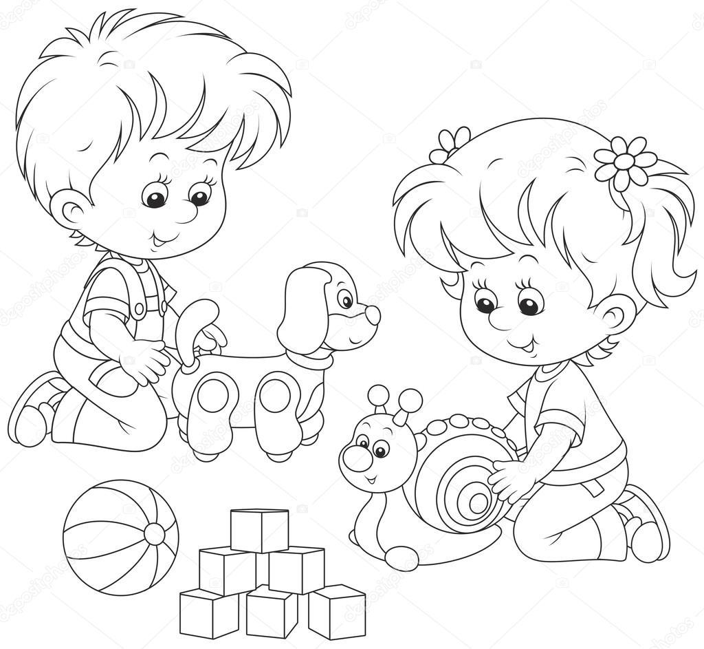 Niña Escribiendo En La Pizarra Para Colorear Niña Y Niño