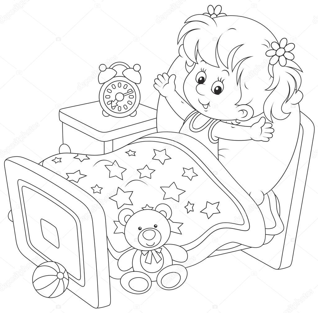Imágenes Niños Despertando Para Colorear Chica Despertando
