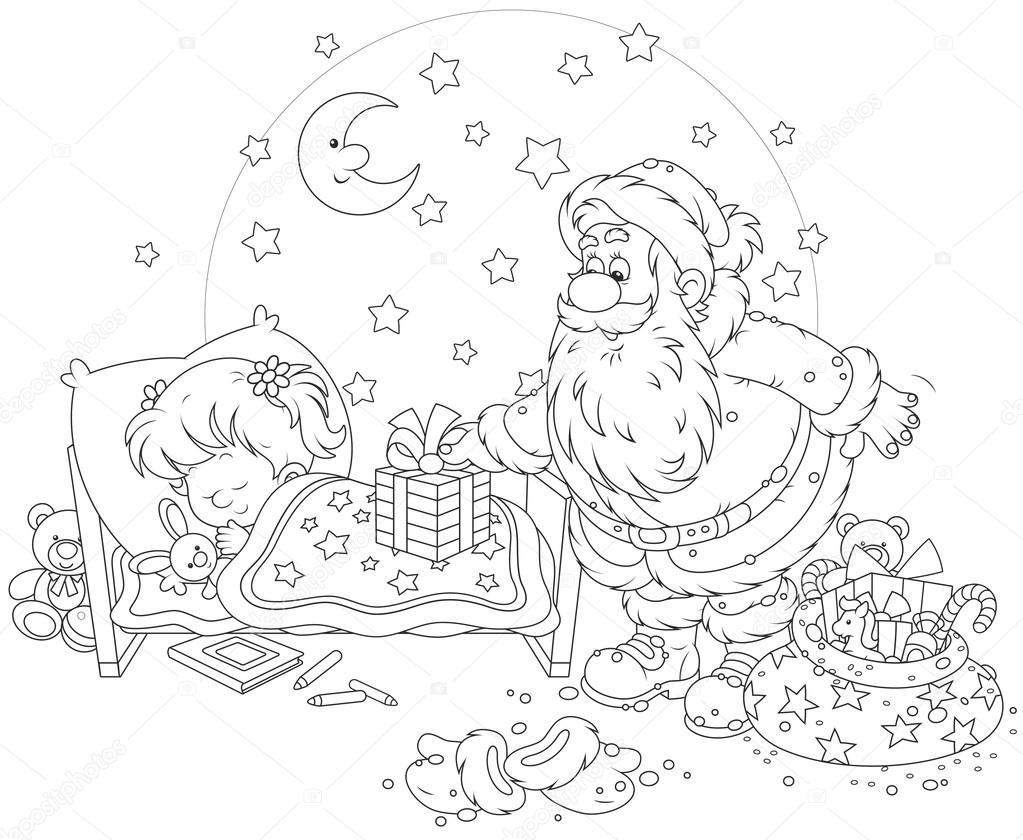 Niña Cepillandose Para Colorear Santa Con Los Regalos Para Un Niño