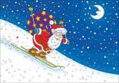 Weihnachtsmann-Skifahrer
