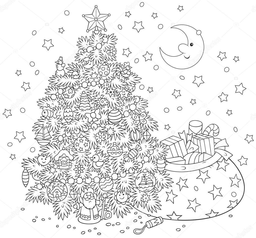 árbol de Navidad y regalos — Vector de stock © AlexBannykh #89883504
