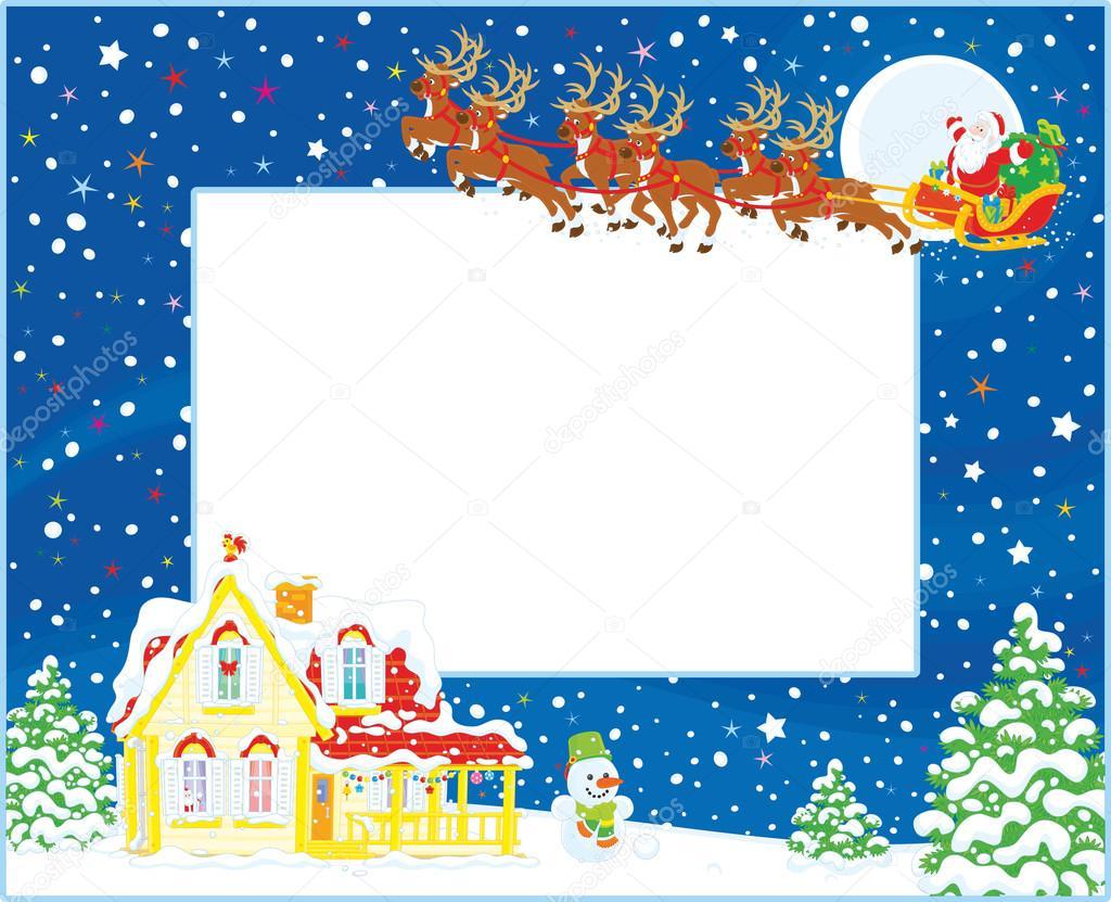christmas santa border  Border with Christmas Sleigh of Santa — Stock Vector © AlexBannykh ...