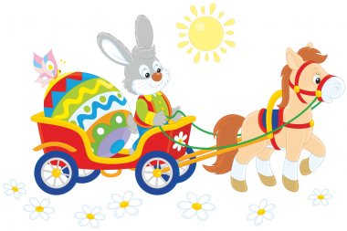 Easter bunny on a cart