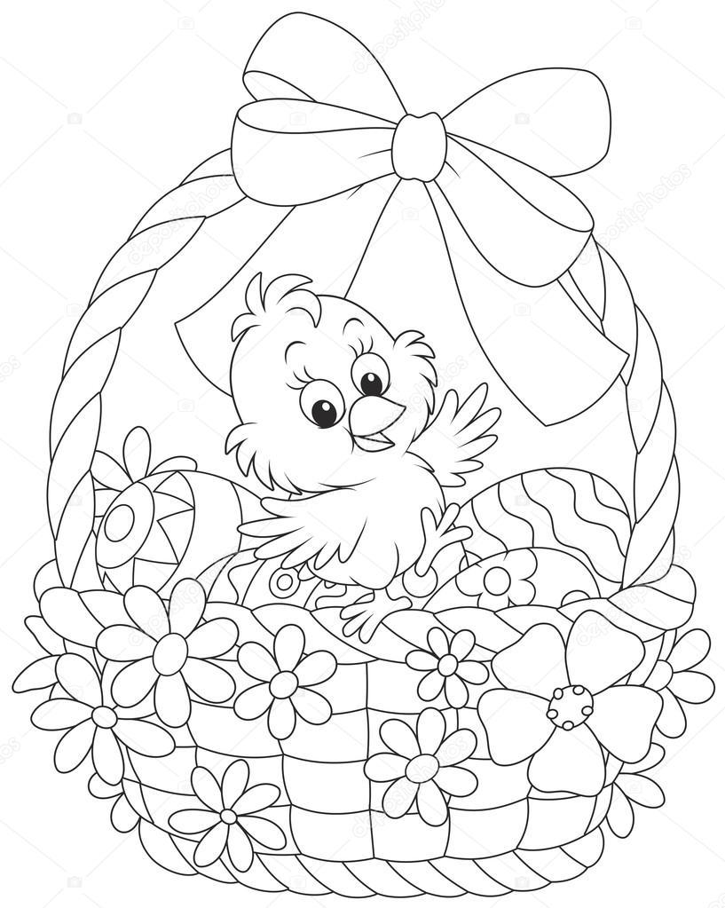 Pollito de Pascua en una cesta decorada — Archivo Imágenes ...