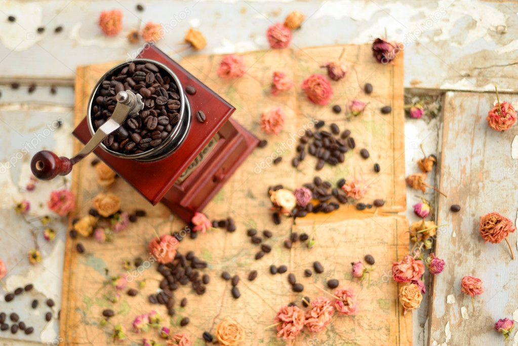 Coffee beans and dried roses