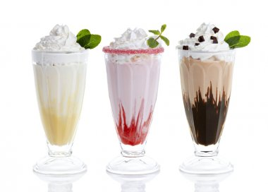three glasses of milkshakes