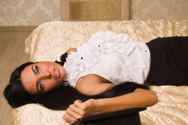 Lifeless strangled victim in a vintage bedroom