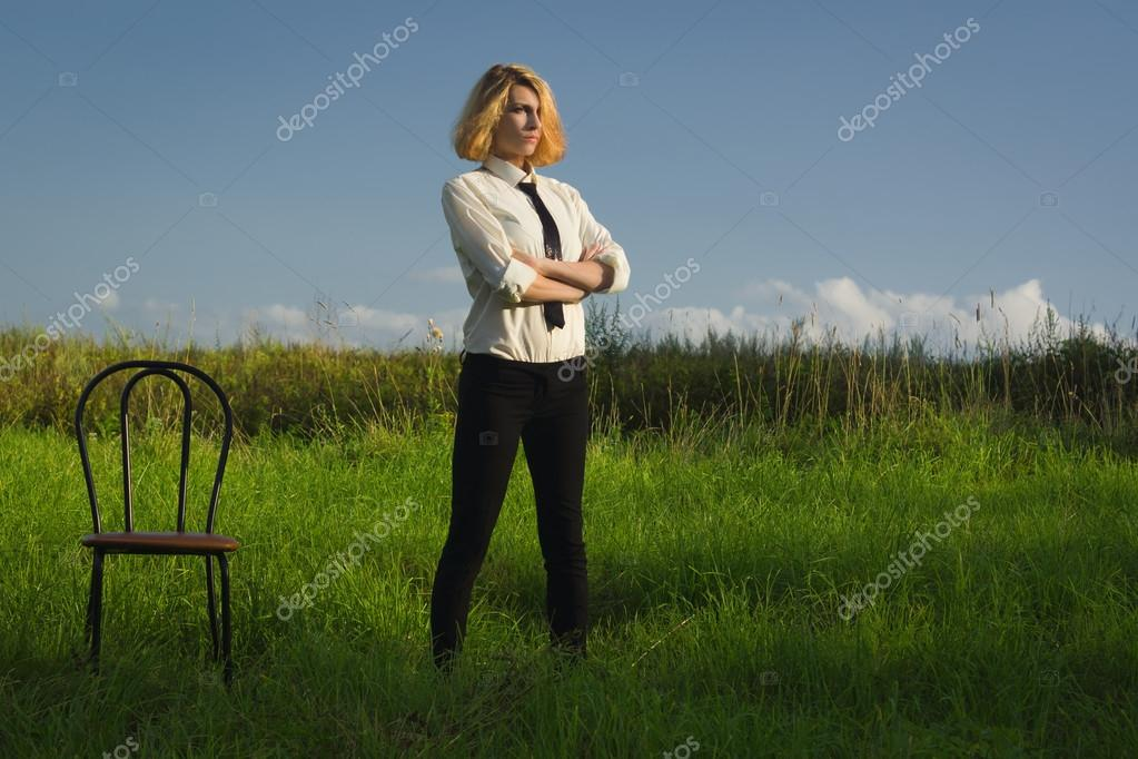 Beauty woman standing at the field