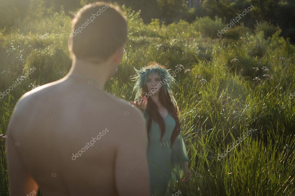 Mermaid on the lake calling man