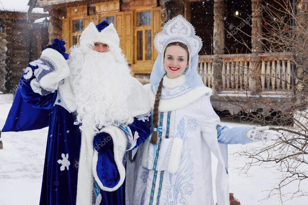 Russian Christmas characters: Ded Moroz (Father Frost) and Snegu