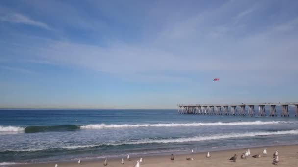 Rescue helicopter, seagulls and ocean waves on the Hermosa beach in California, USA