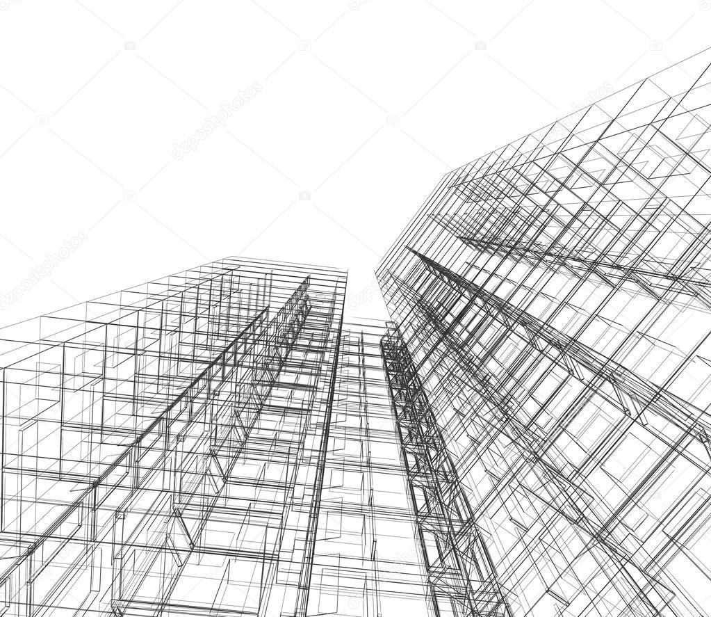 Abstrakte Gebäude. Architektur Entwerfen Und Mein Eigenes Modell U2014 Foto Von  1xpert