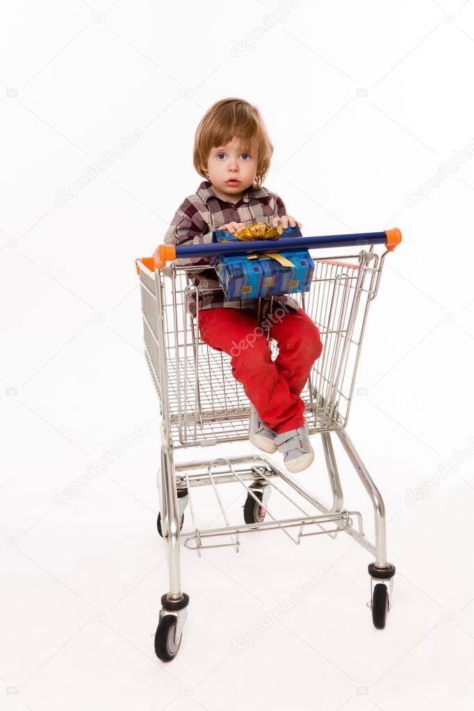 bf3b0430a89f2c Little Baby im Einkaufswagen sitzt — Stockfoto © svyatoslavlipik ...