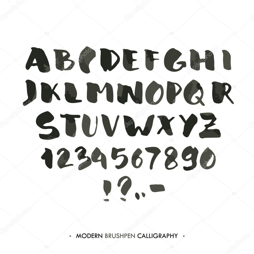 Modern Ink Alphabet Font ABC Painted Letters With Brush In Calligraphy Style Capital And Numbers Vector By Logoff