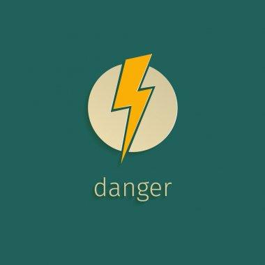 Flat lightning icon in retro style