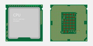 CPU. Central processing unit. Computer chip or microchip.