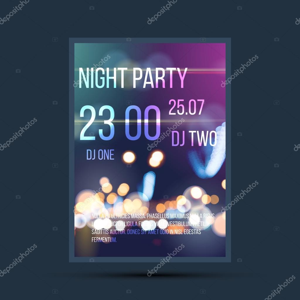 Nacht Einladung Flyer Vorlage — Stockvektor © logoff #73929337