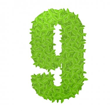 Number 9 consisting of green leaves