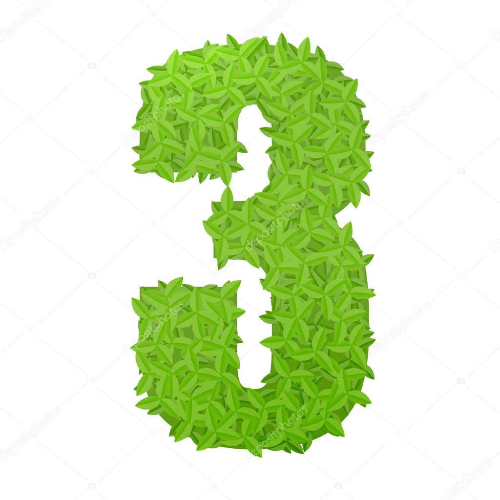 Number 3 consisting of green leaves — Stock Vector © logoff #86498488