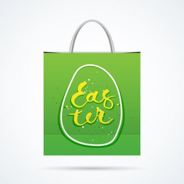 Paper bag with  handwritting word. Vector illustration with shadow icon