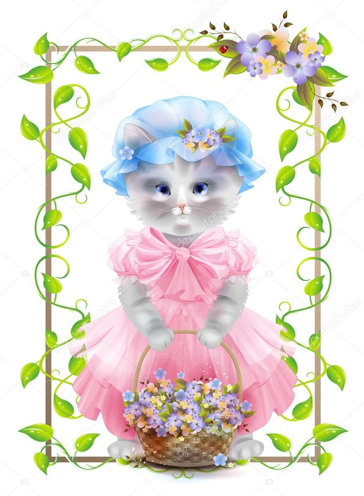 Portrait Of The Vintage Cat With Basket Birthday Card Holiday