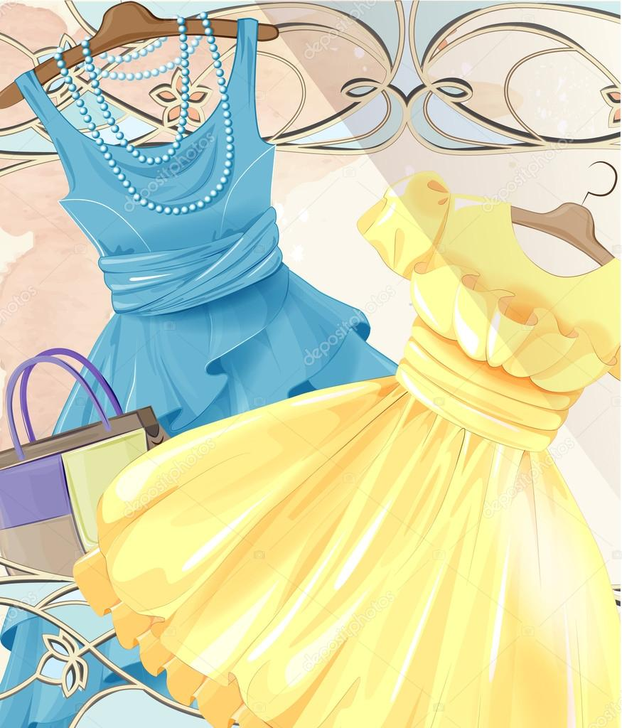 Frau Festliche Kleider Auf Einem Kleiderbugel Und Handtasche Sommer