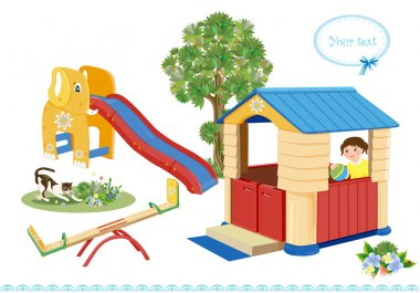 Playground. Seesaw, slider and house.