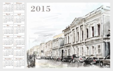 calendar for 2015. Cityscape. Vintage style.
