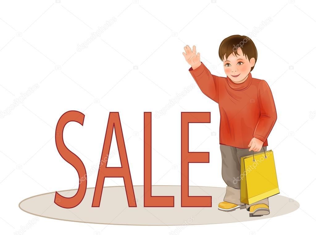 Roztomilé dítě s papírový sáček. Prodej dětského oblečení — Stock ... 5024a926d6