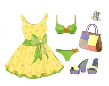 Fashion kit for girls. Dress, handbag, bikini and sandals.