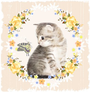 Vintage card with fluffy kitten, butterfly and roses. Imitation