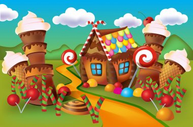 Illustration of sweet house of cookies and candy
