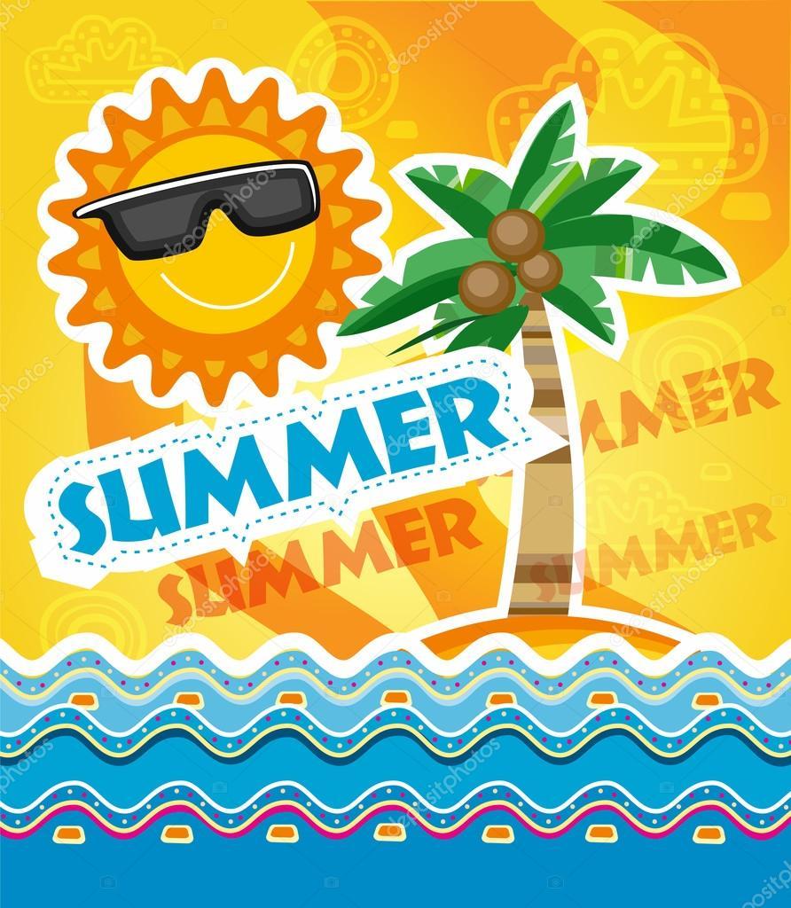 Sommer Urlaub Vorlage — Stockvektor © itmuryn #70776241
