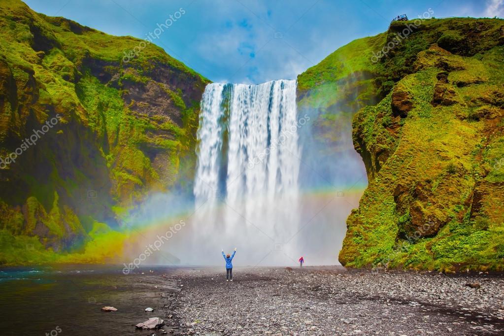 Grand waterfall in Iceland - Skogafoss