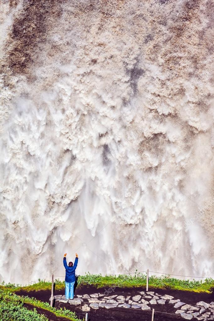 Waterfall Dettifoss cascading