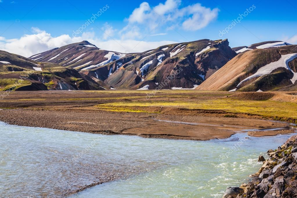 Summer flood  in the national park Landmannalaugar