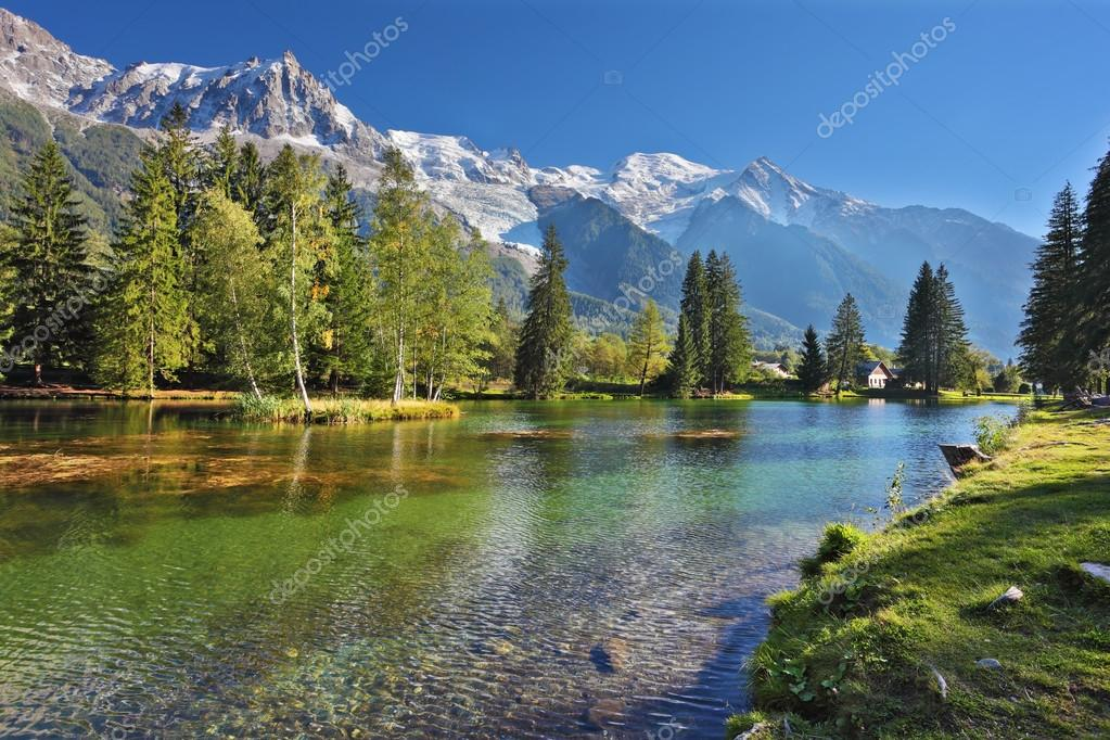 Snowy Alps near the lake