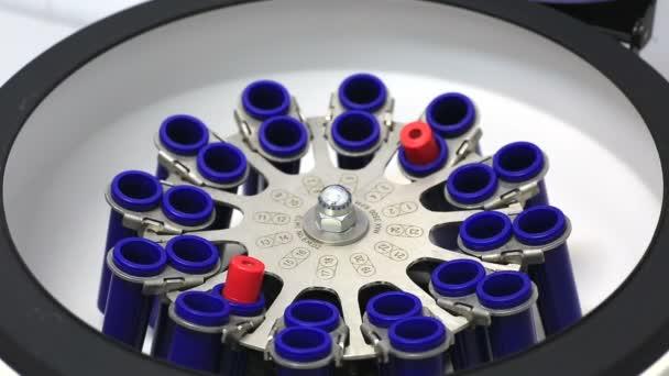 Technik uvádění zkumavek krve v centrifuze