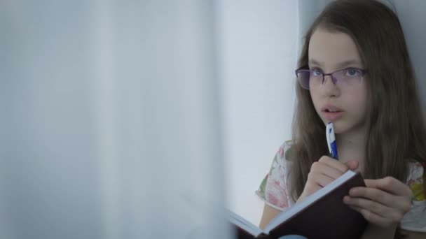 Beautiful little girl in glasses diligently does his homework at window.