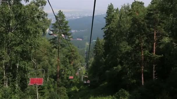 Ski chairlift on Mount Tserkovka in Belokurikha  Altai Krai  Russia