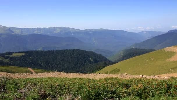 Mountain view Gagra Range. Summer panorama of Krasnaya Polyana.